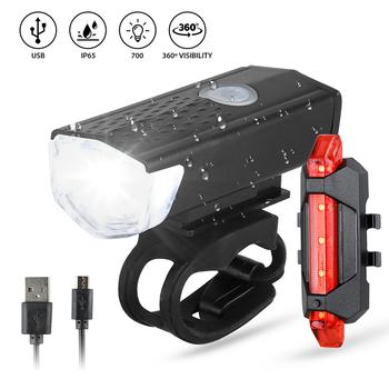 Lampka rowerowa ładowana na USB rower MTB przód tył tylne światło kolarstwo ostrzeżenie o bezpieczeństwie lekka wodoodporna lampa rowerowa Flashligh tanie i dobre opinie CN (pochodzenie) Bicycle Lights Kierownica Baterii SFIT5227
