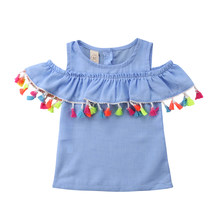 2-7Y Toddler Baby Kid Girls Tassel T shirts Tops Summer Ruffles Off shoulder Tunic Beach holiday costumes children clothes(China)