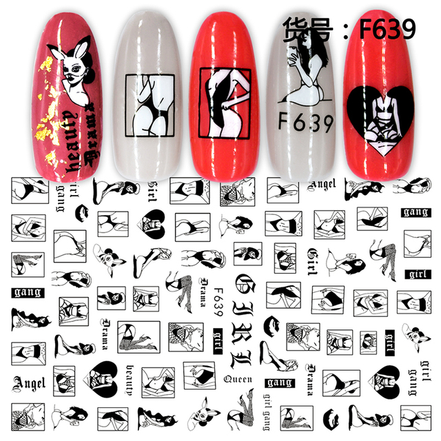 3D Nail Sticker Cool English Letter Nail Art Decorations Foil Love Heart Design Nails Accessories Fashion Manicure Stickers 4