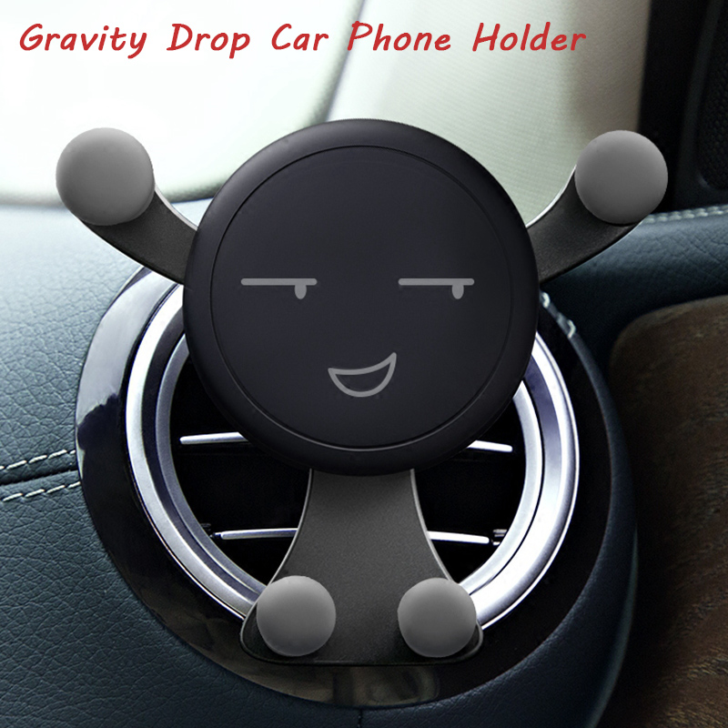 Universal Air Vent Gravity Bracket Car Phone Holder For Honor 8X Cute Smile Plastic GPS Navigation Support Phone Holder Stand