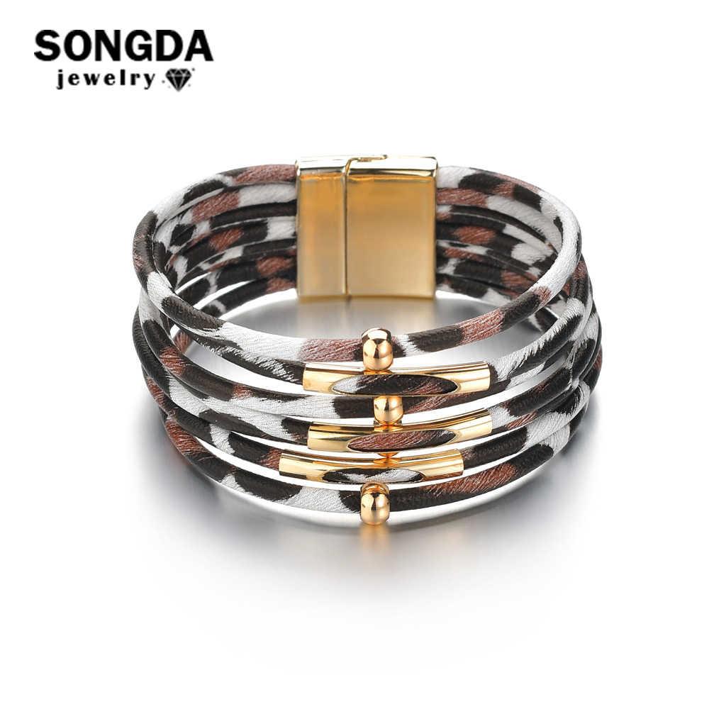 SONGDA בציר נמר עור צמיד לנשים מתכת חרוזים רב שכבתי רחב גלישת סגולה צמידים & צמידי אביזרים אלגנטיים