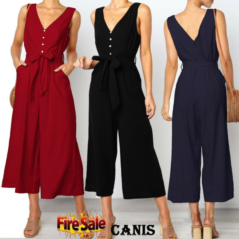 New Jumpsuit Women Clubwear V-Neck Playsuit Sleeveless Jumper Bodycon Party Romper Long Black Jumpsuit Female Summer Dropship