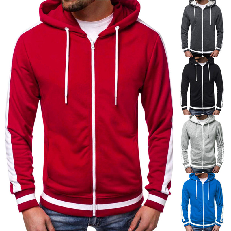 Men Sports Casual Hoodies Wear Zipper 2019 Tide Jacquard Fleece Jacket Fall Sweatshirts Spring Autumn Coat Dropshipping MWW174