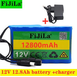 100% Portable Super 12V 12800mAh battery Rechargeable Lithium Ion battery pack capacity DC12.6v 12.8Ah CCTV Cam Monitor +charger