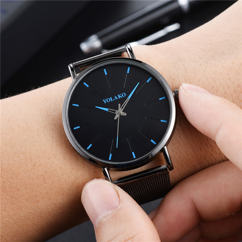 The Latest Simple Men's Stainless Steel Watch Classic Quartz Watches Business Casual Mesh Belt Couple Wristwatch
