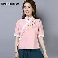 2019 traditional chinese women's blouse folk style cotton linen vintage oblique lapel shirt tang suit cheongsam tops