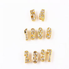 8MM Full Rhinestone Slide Figure Arabic Numerals Number Digit Charms 0-9 Fit DIY Wristband Bracelet Keychain Necklace(China)