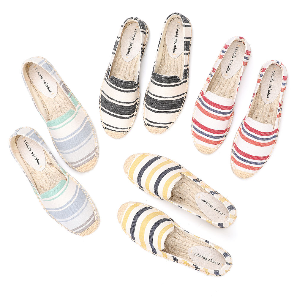 2020 Zapatillas Mujer Flat Platform Cotton Fabric Plastic Slip-on Casual Spring/autumn Striped Sapatos Womens Espadrilles Shoes