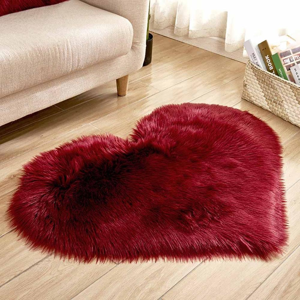 Heart Rug Kids Room Christmas Rugs Imitation Wool Sheepskin Cute Carpet Faux Fur Non-slip Bedroom Furry Carpet Dywan Serce 20O30