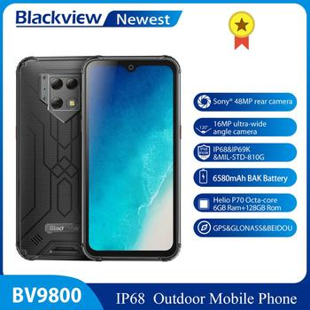 "Blackview BV9800 Android 9.0 Smartphone Helio P70 6GB+128GB 48MP Rear Camera IP68 Waterproof Mobile Phone 6580mAh 6.3"" FHD"
