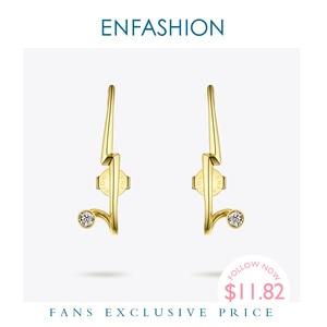 Image 1 - ENFASHION 번개 스터드 귀걸이 여성을위한 골드 컬러 펑크 기하학 미니멀리스트 크리스탈 귀걸이 패션 주얼리 Kolczyki EC1040