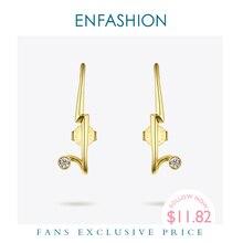 Женские панковские геометрические серьги гвоздики ENFASHION, золотистые минималистичные Кристальные серьги, модные ювелирные изделия, EC1040