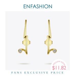 Image 1 - Женские панковские геометрические серьги гвоздики ENFASHION, золотистые минималистичные Кристальные серьги, модные ювелирные изделия, EC1040