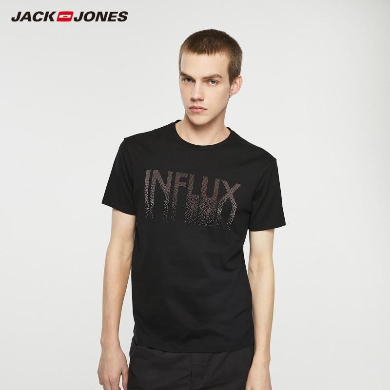Jack Jones Men's Streetwear 100% Cotton Fashion Letter Print Round Neckline Short-sleeved T-shirt Menswear| 219201516