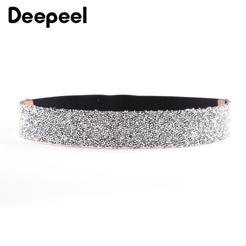 Deepeel Elastic Waistband Wedding Dress Cummerbunds With Flash Drill Rhinestone Stretch Artificial Leather Cummerbunds YK646