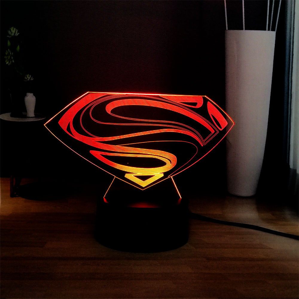 Superman Logo LED Bedside Night Lamp Marvel Figure Symbol RGB Multicolor USB MINI Touch 3D Visual Desk Lamp Movie Fans Gift Toy
