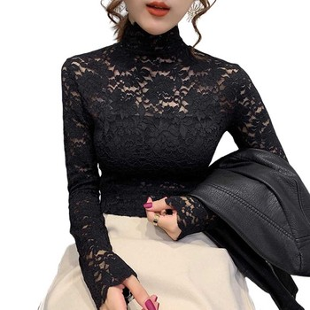 Autumn Women Thin Black Lace T shirt Sexy Turtleneck Long Sleeve Slim Lace Crochet Patchwork Tee Tops WDC6074 image