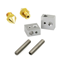 2pcs0.4mm nozzle + 2pcsM6 * 30mm Nozzle throat +2pcs heating block MK8 for Makerbot 3D Printer стоимость