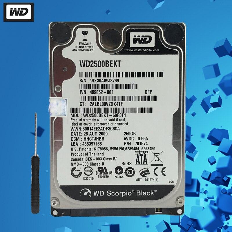 """WD 250GB Disco Rigido Del Computer Portatile Nero Disco Interno Del Computer HDD HD Hard Disk SATA II 16MB di Cache 7200 RPM 2.5 """"per Notebook PS4"""