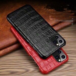 Image 1 - Funda de cuero genuino para iPhone, funda trasera de lujo para iPhone X XR XS Max 11Pro 12Pro SE 2020, 12 Mini 11 Pro Max 7 8 Plus
