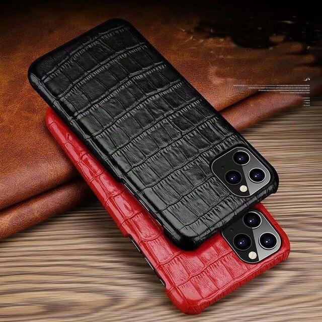 Funda de cuero genuino para iPhone, funda trasera de lujo para iPhone X XR XS Max 11Pro 12Pro SE 2020, 12 Mini 11 Pro Max 7 8 Plus