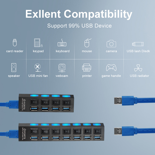 HUB USB 3.0 HUB USB Splitter Multi USB 3.0 2.0 HUB USB3 4/7 Porta Multiporta Hab PC Accessori con Adattatore di Alimentazione per Computer 3