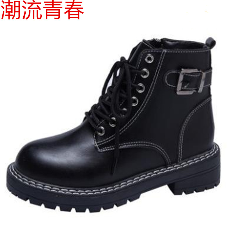 Women Ankle Boots for Female Leather Boots Chunky Heels Autumn Winter Casual Lacing Round Toe Platform Boots Shoes Women