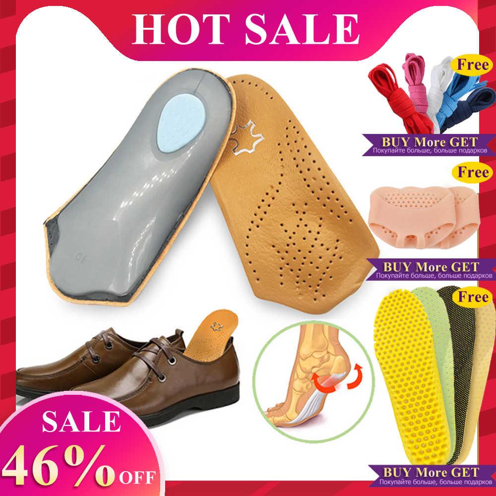 EID 3/4 ความยาวหนัง FLAT Foot Orthotic insoles 2.5 ซม.ครึ่งรองเท้า Pad Orthopedic Insoles Foot Care unisex