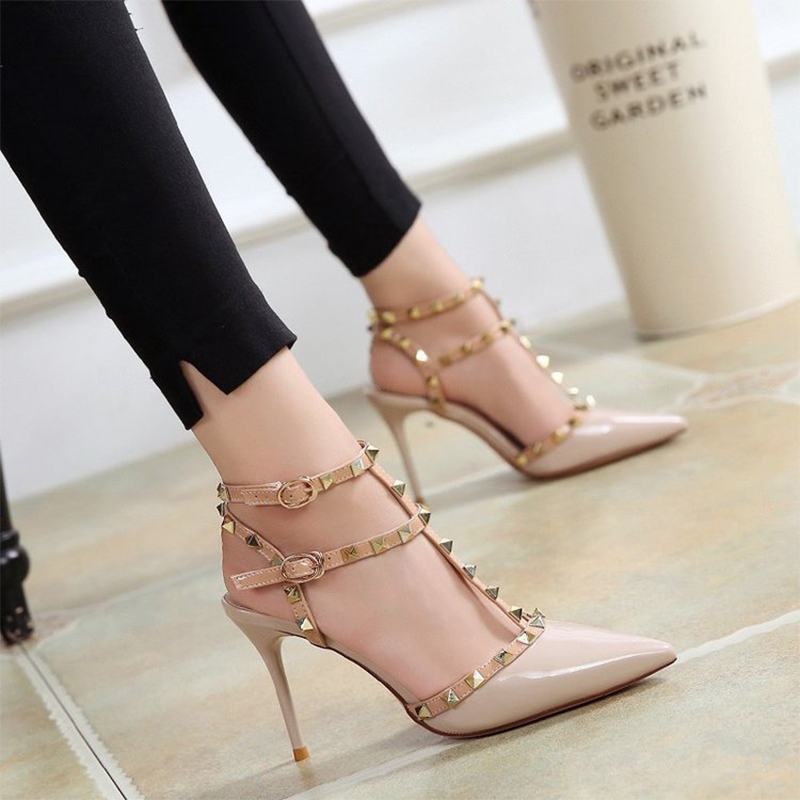 ZHENZHOU 2019 10CM new high heeled shoes female pointed stiletto sexy nightclub word with rivets wild sandals female summer