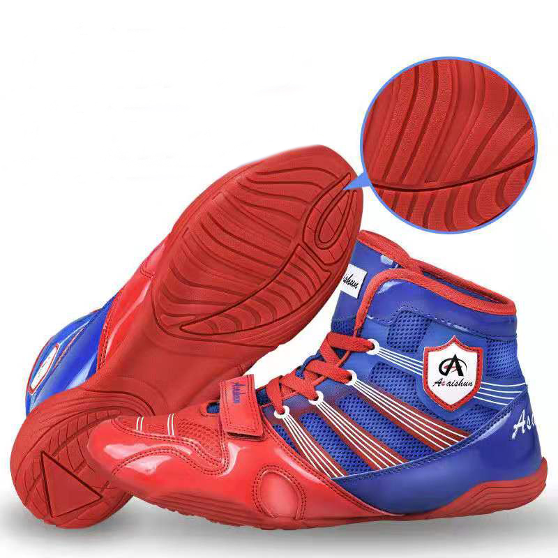 Professional Wrestling Boots For Men Red Blue Anti Slip Fighting Boxing Shoes Kids Indoor Breathable Athletic Boxing Sneakers