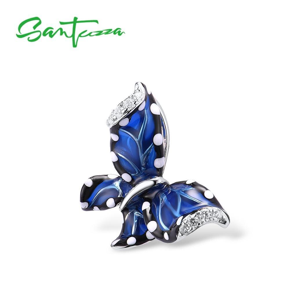 SANTUZZA Silver Pendant For Women 925 Sterling Silver Blue Butterfly Fashion подвеска кулон Gift  Fine Jewelry Handmade Enamel