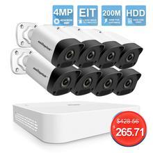 4CH 8CH 4MP POE NVR комплект камер видеонаблюдения H.265 HD 4MP ip камера безопасности 200M POE расстояние 52V система видеонаблюдения