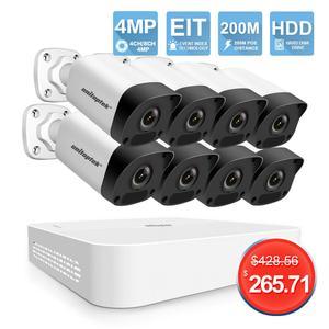 Image 1 - 4CH 8CH 4MP POE NVR Kit CCTV Camera System H.265 HD 4MP Security IP Camera 200M POE Distance 52V Video Surveillance System Set
