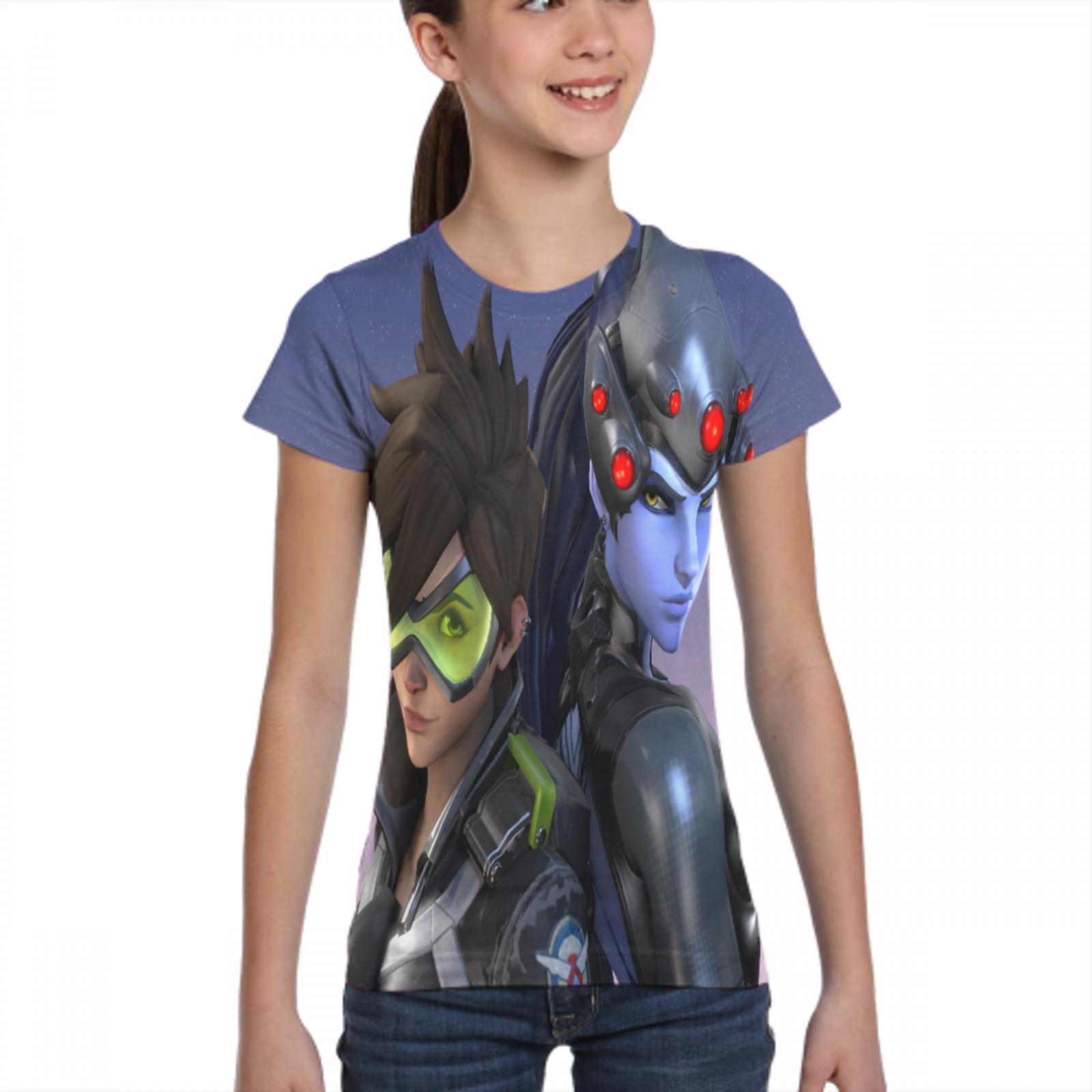 printer overwatch top t shirt gothic female/male black t shirt overwatch socks female/male t shirt 2
