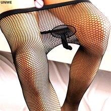 Сексуальные сетчатые колготки, Мужские дышащие чулки с дырочками, черные сексуальные сетчатые колготки с защитой от крючков, с рукавом для пениса, эротический внешний вид