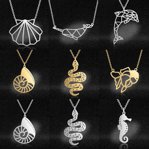 Snake Pendant Necklaces Jewelry Dolphin Sea-Shell Stainless-Steel Women Fashion Narwhal
