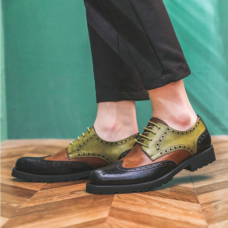 Mens Brogue Business Office Oxfords Flats  Men Mixed Colors Fashion Dress Patent Leather Shoes  Wedding Party Shoes A57-55