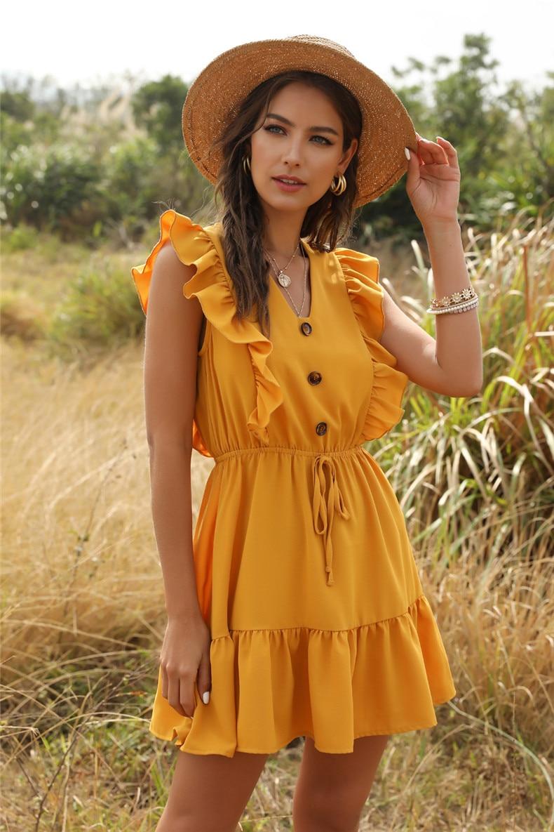 Ruffle Off Shoulder High Waist V Neck Casual Boho Beach Yellow Dress 31