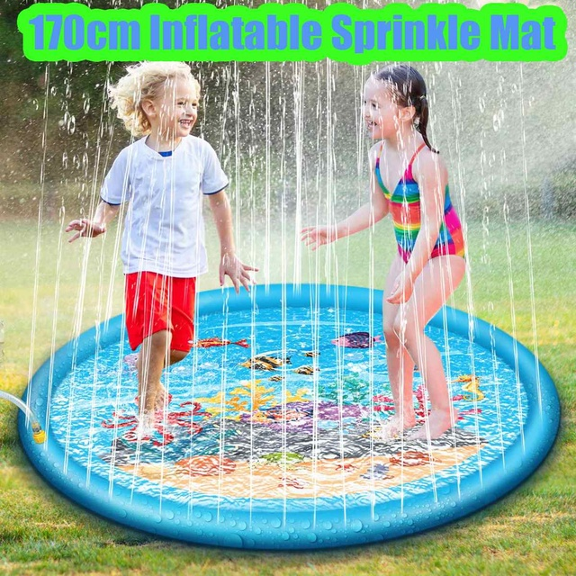170cm Summer Kids Inflatable Round Water Splash Play Pool Playing Sprinkler Mat Yard Outdoor Fun Multicolour PVC Material