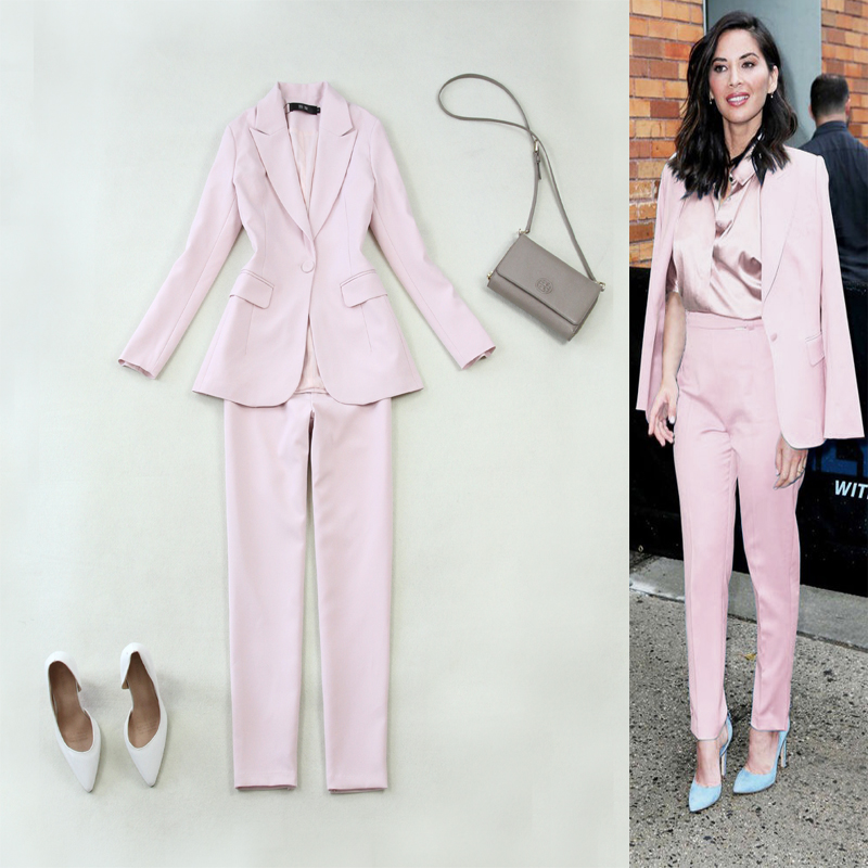 Business office women's suits two-piece Temperament casual pink suit jacket female Slim trouser suit with high quality 2019 new