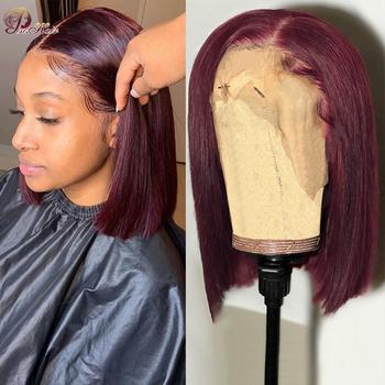 Pinshair Bob peruki z ludzkich włosów Burgundy Red 99J blond pre-plucked 13*1 Bob koronkowa peruka na przód proste krótkie peruki w stylu Bob dla czarnych kobiet tanie i dobre opinie Remy Ludzki Włos CN (pochodzenie) 99J Straight Wig T Part Straight Lace Bob Wigs Średnia wielkość 99j red burgundy colored Straight Hair wigs
