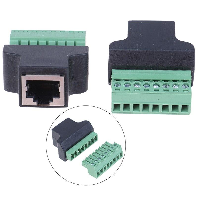 1pcs High Quality RJ45 To Screw Terminal Adaptor RJ45 Female To 8 Pin Connector RJ45 Splitter For CCTV DVR CCTV Accessories
