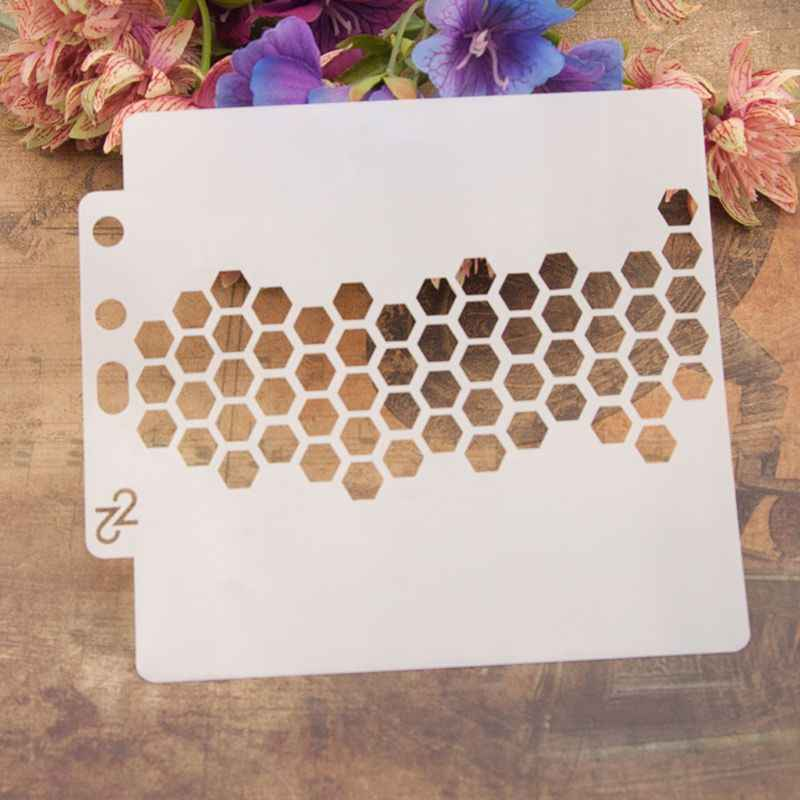 Stencils Template Painting Scrapbooking Embossing Stamping Album Crafts Hexagon E65B