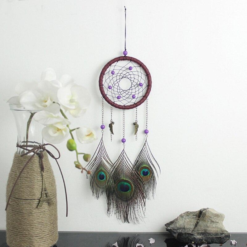 Moda Takılar Dreamcatcher Rüzgar Çanları Tavuskuşu Tüyü Kolye Tutucular Kapalı Asılı Dream Catcher Dans Parti Dekorasyon