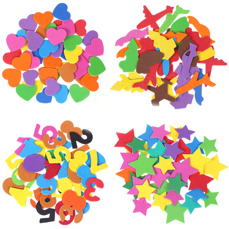Sponge Patch Self Adhesive Manual DIY Production Children Sticker Kindergarten Foam Paper Kids Toys Multicolor