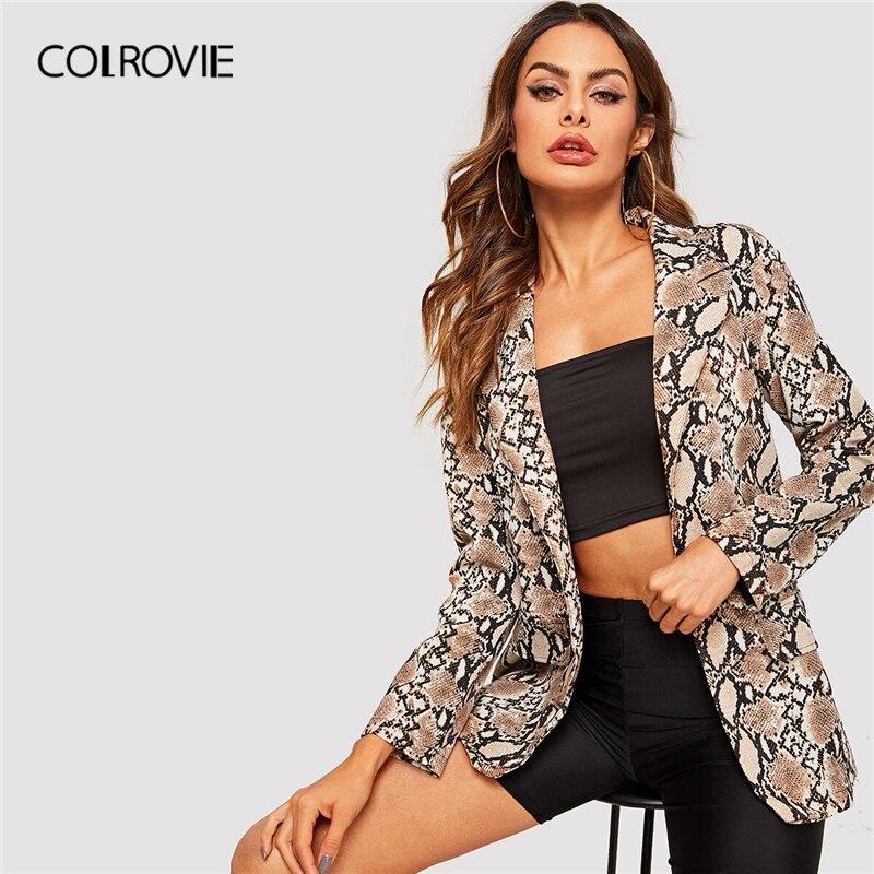 COLROVIE Snake Print Double Pocket Blazer Women Glamorous Clothing 2019 Autumn Elegant Ladies Coat Outerwear Casual Coats