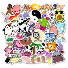 Pegatinas para niños pegatina de animé en nevera portátil impermeable niños Vsco Girl Stickers Pack grafiti skate Stickers(China)