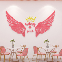 Anchor room wing pink girl heart sticker 3D three dimensional bedroom room layout shop window sticker punch in