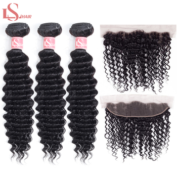 LS Hair deep wave malaysia remy hair 3 bundles with lace Frontal 13*4 pre-plucked human hair extensions free shipping 8-26inch