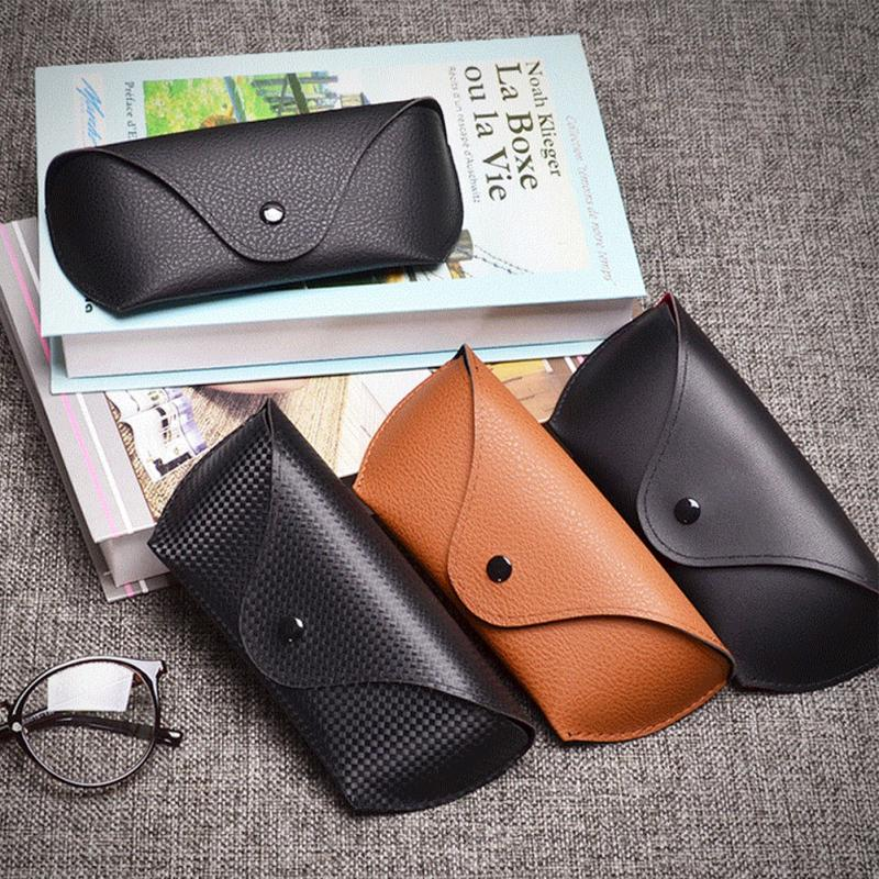 Men Women Portable Glasses Case Magnetic PU Leather Fold-able Box For Eyeglass oversize Sunglasses
